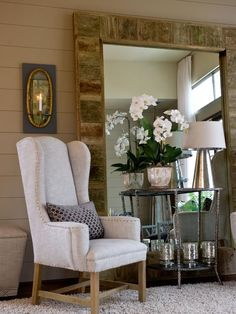 HGTV Green Home 2012: Living Room Pictures : Green Home : Home & Garden Television Love the large mirror with surround from old fence pickets! #greenliving