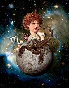 Scorpio Art, Scorpio Moon, Scorpio Zodiac, Astrology Zodiac, Aquarius, Anime Zodiac, Zodiac Art, Collage Illustration, Collage Art