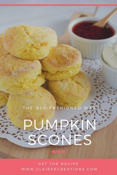 Looking for a recipe for pumpkin scones the old fashioned way (just like CWA pumpkin scones)? Stop here - no mixer required easy pumpkin scone recipe. Gourmet Recipes, Snack Recipes, Cooking Recipes, Snacks, Cake Recipes, Dessert Recipes, Pumkin Scones, Pumpkin Bread, Yummy Treats