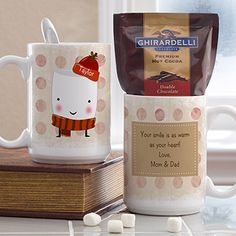 OMG this little marshmellow guy is so cute!!! It's a personalized mug from PersonalizationMall - it comes with hot cocoa too! You can personalize it so the little marshmellow's hat displays any name you want! Cute Christmas gift idea for coworkers!
