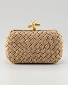 Matte Gold Knot Clutch Bag by Bottega Veneta at Neiman Marcus.