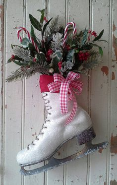 Decorated Ice Skate Christmas Decor  Ice skate  Wreath  I'm looking for some old ice skates.