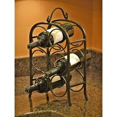 This arch design of the wine rack is a nice addition to your kitchen counter.