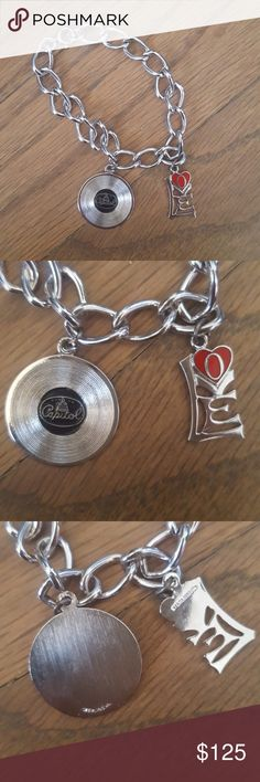 Vintage Like New! Charm Bracelet + Rare Charms A sterling silver charm bracelet for the music lover. Vintage, rare, sterling silver Capitol Records LP and sterling silver and enamel Love charms. Great condition. See photos for measurements. Jewelry Bracelets