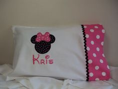 Minnie Mouse PILLOW CASE, Personalized,  Apppliqued, Embroidered, via Etsy