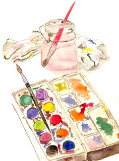 A watercolor sketch of . watercolors with brush in water jar and paint rag. Watercolor Journal, Watercolor Plants, Watercolor Sketch, Watercolor Cards, Watercolor Paintings, Watercolors, Decoupage, Watercolor Techniques, Watercolour Tutorials