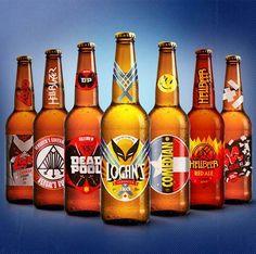 """""""Comic Book Super Drunk Hangout"""", une jolie série de designs de bouteilles de bière inspirées des Super-Héros et personnages de comics, de Wolverine à Deadpool en passant par Hell Boy ou Marv de Sin City.  Des créations imaginées par l'illustrateur Butcher Billy, à qui l'on doit déjà de nombreux et excellents mashup de super-héros et de pop culture."""