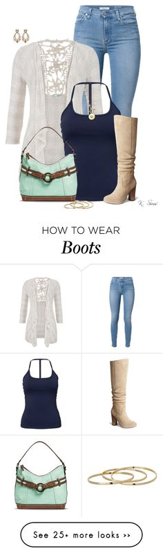 """A Cardi & Boots"" by ksims-1 on Polyvore featuring 7 For All Mankind, maurices, Bølo, Roberto Cavalli, GUESS and Sí.Sí Design"
