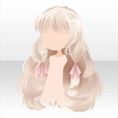 Anime hair light blonde/white with pink ribbons fluffy and puffy with bangs Anime Girl Hairstyles, Chibi Hairstyles, Puffy Hair, Pelo Anime, Manga Hair, Hair Sketch, Cocoppa Play, Hair Reference, Character Design Animation