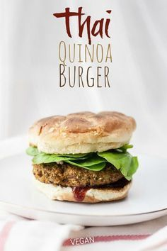An easy Thai-influenced vegan veggie burger that stays together, bakes up nice and crispy, and packs a big protein punch! Gf Recipes, Whole 30 Recipes, Veggie Recipes, Vegetarian Recipes, Cooking Recipes, Fast Healthy Meals, Healthy Eating Recipes, Superfood, Quinoa
