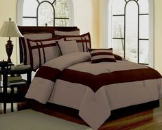 OS-12pc King Georgia Taupe/ Chocolate Luxury Bed in a Bag