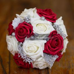 Red and cream winter christmas holiday bouquet by TheBridalFlower