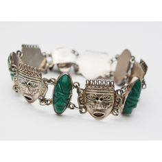Sterling face link bracelet Carved Green Onyx Silver Tribal Mask... ($86) ❤ liked on Polyvore featuring jewelry, bracelets, green onyx jewelry, tribal jewellery, silver jewellery, carved jewelry and silver bangles