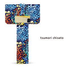 2016 Summer tsumori chisato Yukata Lattice Hydrangea Navy Blue