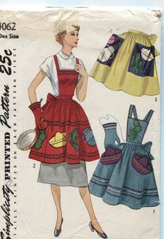Misses' and Women's Bib Apron and Half Apron by OnceUponAnHeirloom, $44.95