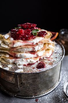 """sweetoothgirl: """"Coconut Honey Crepes with Whipped Mascarpone + Blood Orange Compote. """""""