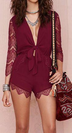 Burgundy lace romper