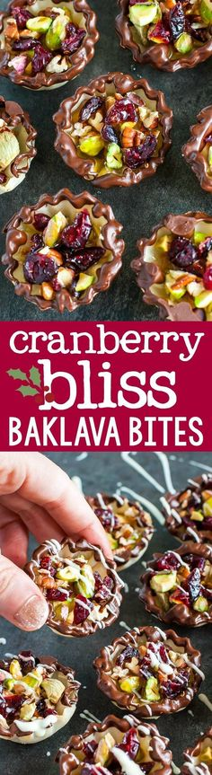 This easy dessert is perfect for holiday parties! (Helloooo bite-sized Thanksgiving or Christmas dessert!) Quick, easy, and totally delicious Cranberry Bliss Baklava Bites with sweet chocolate and a kiss of honey!