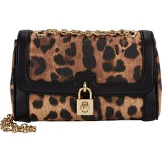 Dolce & Gabbana Leopard-Pattern Shoulder Bag ($1,195) ❤ liked on Polyvore