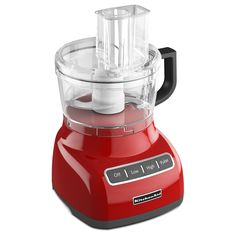 This KitchenAid food processor features a 7-cup capacity with low, high and pulse settings. The modern design has a brilliant red exterior to add an exciting look to the kitchen.