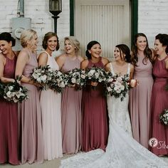 Fall bridesmaid dresses - Inspiration for Pink Bridesmaid Dresses – Fall bridesmaid dresses Dusty Rose Bridesmaid Dresses, Bridesmaid Dress Colors, Wedding Bridesmaids, Different Bridesmaid Dresses, Wedding Dress Black, Wedding Dresses, Mauve Wedding, Rose Wedding, Fall Wedding