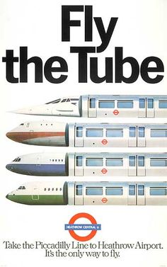 1977 Fly The Tube - Vintage London Underground Posters Vintage London, Old London, Concorde, Vintage Art Prints, Vintage Posters, Train Posters, Railway Posters, 80s Posters, London Underground Tube
