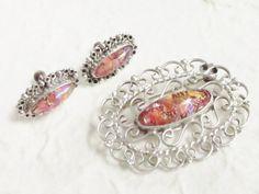 Vintage Sterling Pink Dragons Breath Brooch by GrandVintageFinery, $68.95