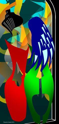 Dos mujeres conversando frente al aparador   #arte #artecontemporáneo #dibujo #diseño #desing #art #ilustracion#artedigital #ilustration #RicardoCadet #hechoenVenezuela #madeinVenezuela