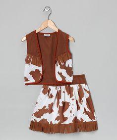 Brown & White Western Dress-Up Set - Toddler