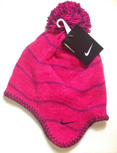 NIKE GOLF SKI OUTDOOR WINTER WOMENS Fleece Knit Novelty Beanie Pom Hat NWT  RETAIL  30 Our e365be831b07