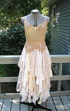 ON SALE -Cafe au lait/mocha/blush tones tattered alternative bride boho bohemian hippie gypsy wedding dress, 40 inch bust, Size 14-16, Large