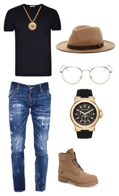 """Styled by fashioniswhoiam"" by dominique-nicole-brooks on Polyvore featuring L(!)W Brand, Dsquared2, Timberland, OBEY Clothing, RetroSuperFuture, Versace, Michael Kors, men's fashion and menswear"