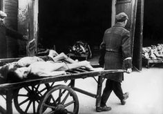 A man carries away the bodies of dead Jews in the Ghetto of Warsaw in 1943, where people died of hunger in the streets. Every morning, about 4-5 A.M., funeral carts collected a dozen or more corpses from the streets. The bodies of the dead Jews were cremated in deep pits.