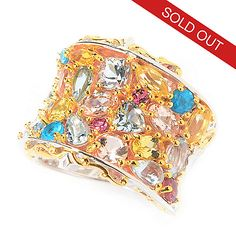 141-594 - Gems en Vogue 4.34ctw Brazilian Multi Gemstone Wide Band Cluster Ring