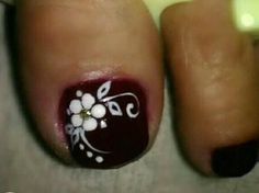 Decorados En Esmalte Oscuro Toenail Art Designs, Fall Nail Art Designs, Flower Nail Designs, Nail Polish Designs, Pretty Toe Nails, Cute Toe Nails, Toe Nail Color, Toe Nail Art, Toenails
