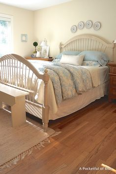 Master Bedroom with Blue Toile Bedding