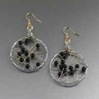 Onyx Wire Wrapped Aluminum Earrings. Casual Class.   http://www.johnsbrana.com/onyx-wire-wrapped-aluminum-earrings.html  $75.00 #10th #wedding #anniversary