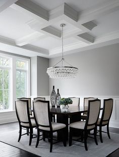 Beautiful, large dining room with large, bling chandelier