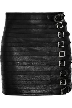 Gucci - Buckle-embellished Textured-leather Mini Skirt - Black - IT