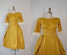 1950's Party Dress / 50s Satin and Fur Dress