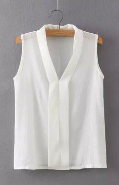 Women plus size V neck summer blouses low cut sleeveless shirts Blusas Femininas European casual tops solid tee – 2019 - Chiffon Diy Clothes For Women In 20's, Blouses For Women, Cute Blouses, European Casual, Chiffon Shirt, Chiffon Blouses, Sleeveless Shirt, Summer Blouses, Pulls