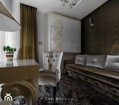 Elegancki apartament w Gdyni - Duże biuro domowe w pokoju, styl glamour - zdjęcie od Arte Dizain