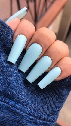 nails in 2019 tırnak fikirleri, tırna Acrylic Nails Coffin Matte, Blue Matte Nails, Summer Acrylic Nails, Coffin Nails, Summer Nails, White Nails, Baby Blue Nails With Glitter, Acrylic Nails Pastel, Nude Nails