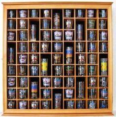 71 Shot Glass Display Case Holder Cabinet Rack, Glass Door, Solid Wood, Oak Finish