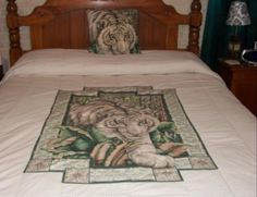 I made this white tiger bedspread for our master bedroom.