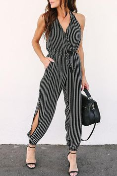 588f47379c5 Halter V Neck Backless Stripes Fashion jumpsuit casual jumpsuit casual summer  jumpsuit casual comfy jumpsuit casual