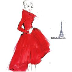 Watercolor Fashion Illustration - Dior and Paris print ($25) ❤ liked on Polyvore
