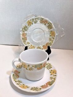 Noritake Progression Sunny Side Cup and 2 Saucers Discontinued Dinnerware NOS & Pier One 1 Golden Floral Dinner Plates 10 5/8 Set of 6 Discontinued ...