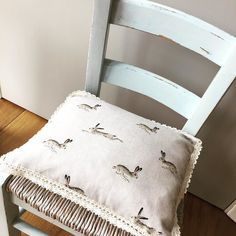 Sophie Allport handmade cushion with lace trim on chalk painted vintage child's nursery chair #sophieallport #linen by courtyard_cottage