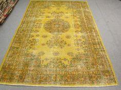 Vintage-Oushak-Handmade-Pale YELLOW Color-Overdyed RUG Soft-Pastel-patterned-rug